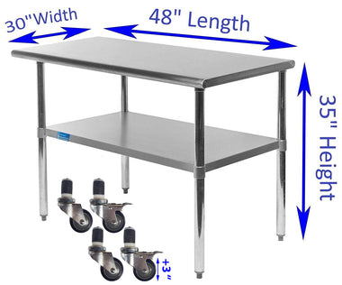 "30"" X 48"" Stainless Steel Work Table With Galvanized Undershelf & Casters"