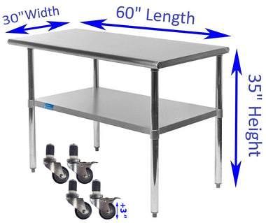 "30"" X 60"" Stainless Steel Work Table With Galvanized Undershelf & Casters"