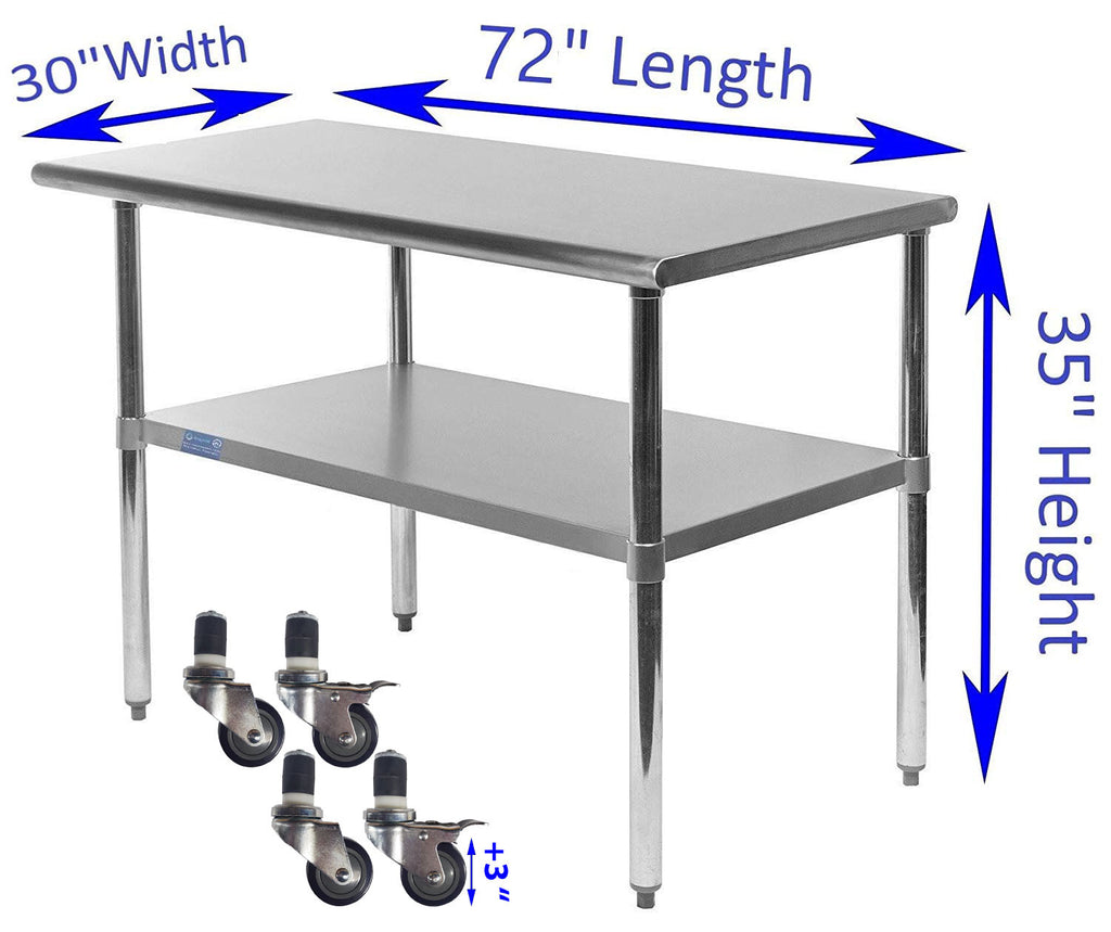 "30"" X 72"" Stainless Steel Work Table With Galvanized Undershelf & Casters"