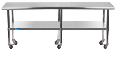 "30"" X 84"" Stainless Steel Work Table With Galvanized Undershelf & Casters"