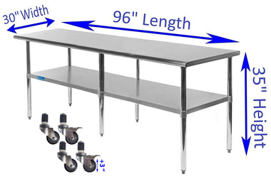 "30"" X 96"" Stainless Steel Work Table With Galvanized Undershelf & Casters"