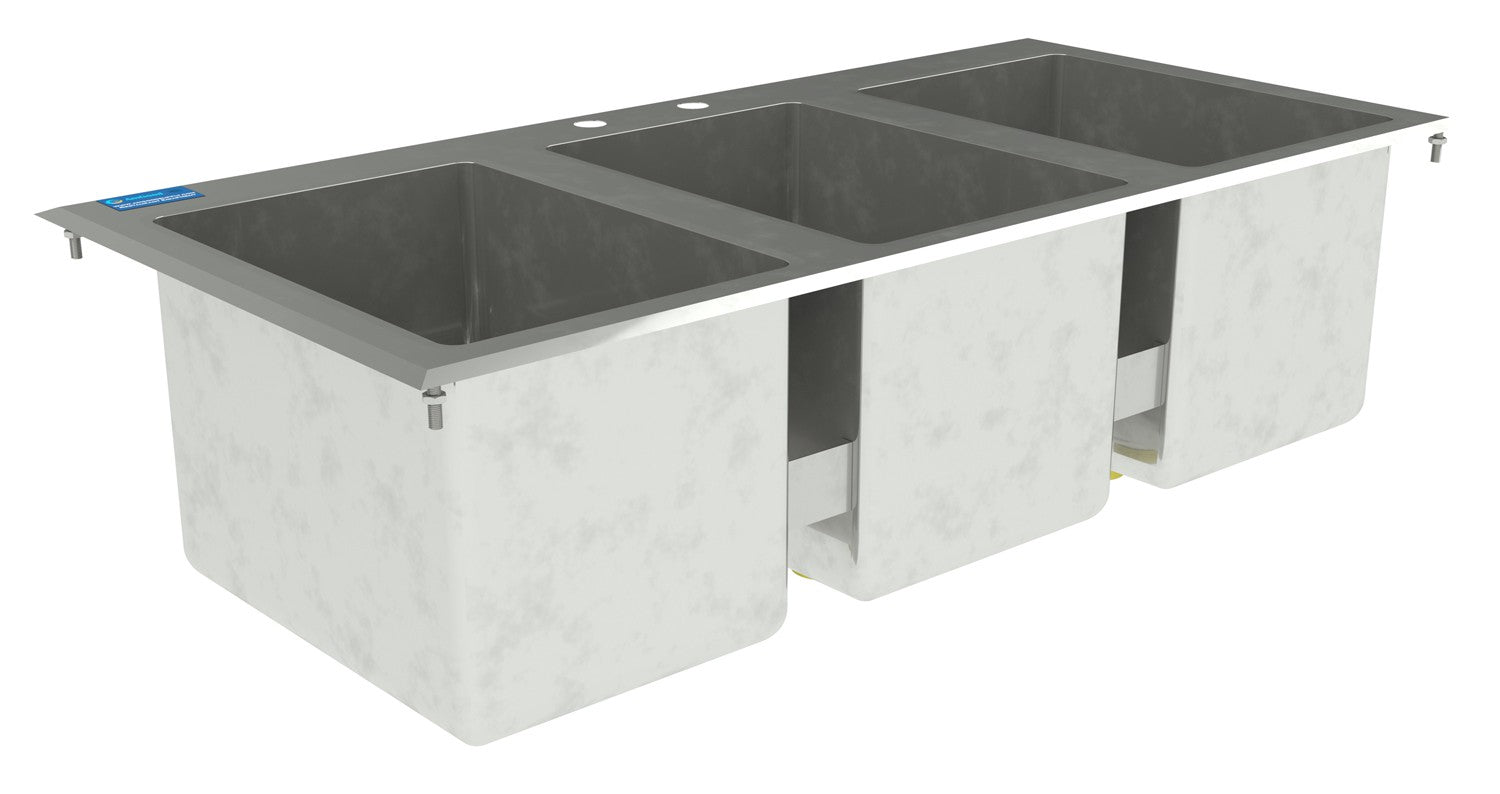 "10"" X 14"" X 10"" Stainless Steel 3 Compartment Drop in Sink Without Faucet"