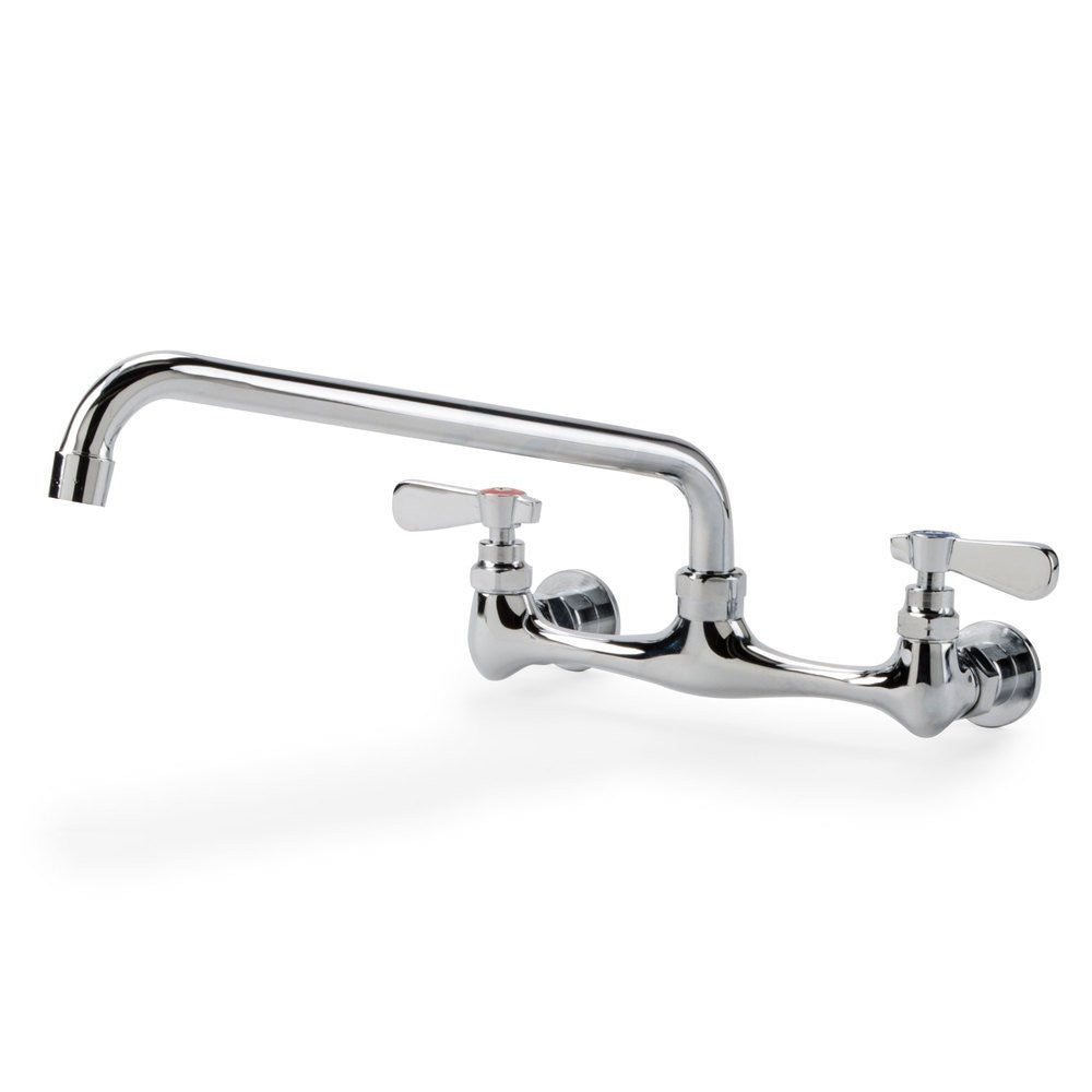 "Wall Mount Faucet with 10"" Swing Spout, 8"" Centers and Lever Handles"