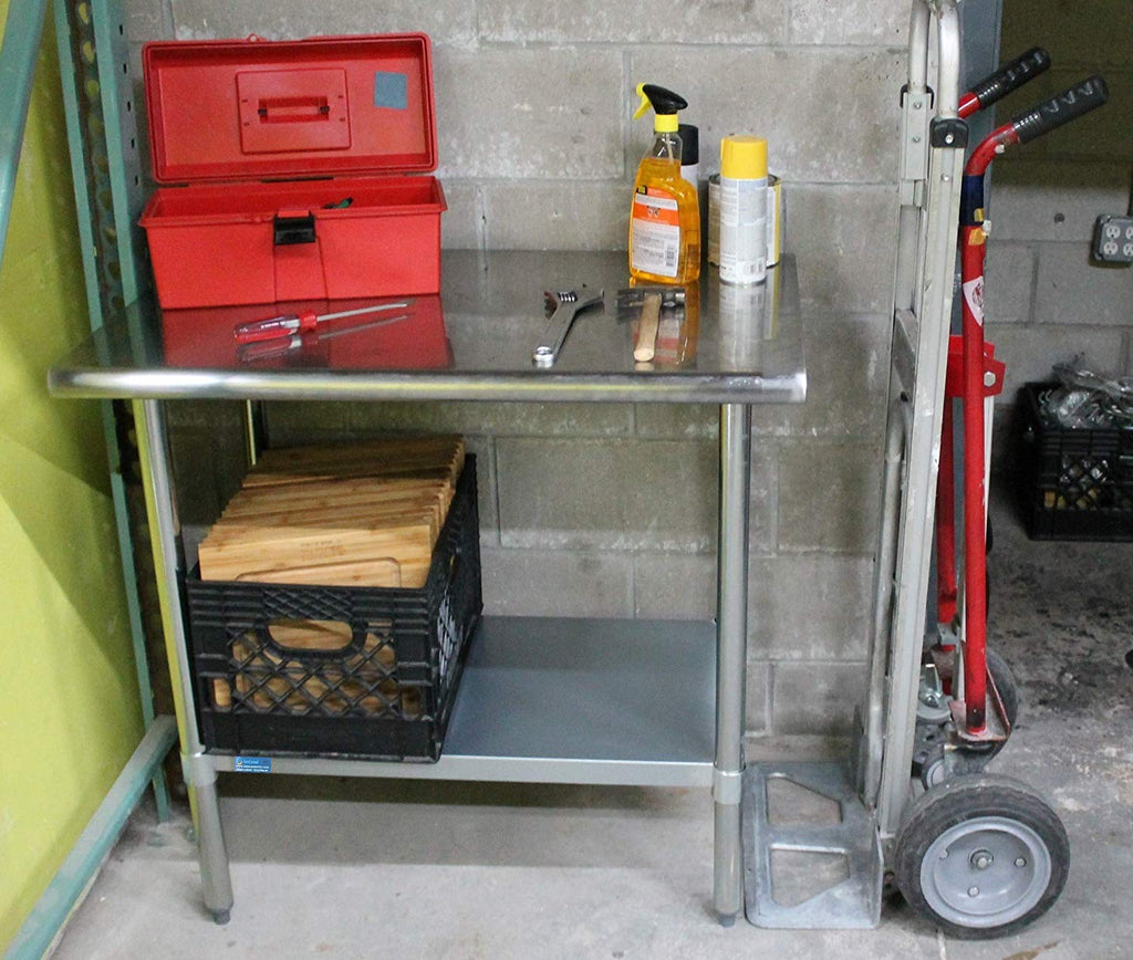 "30"" X 18"" Stainless Steel Work Table With Galvanized Undershelf - AmGoodSupply.com"