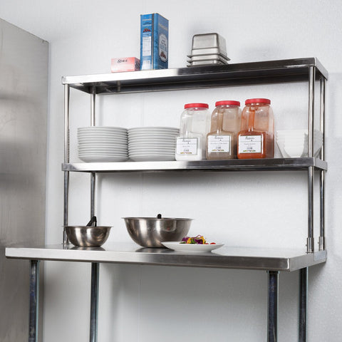 "14"" X 30"" Stainless Steel Double-Tier Shelf - AmGoodSupply.com"