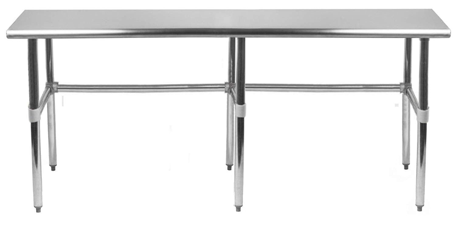 "14"" X 96"" Stainless Steel Work Table With Open Base - AmGoodSupply.com"