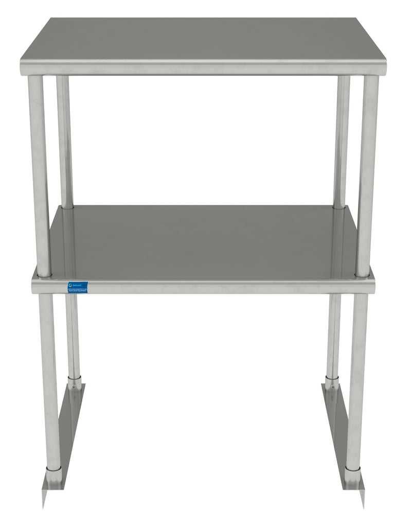 "18"" X 24"" Stainless Steel Double-Tier Shelf - AmGoodSupply.com"