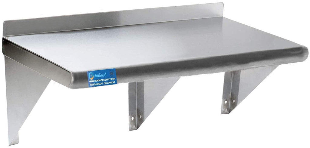 "18"" X 72"" Stainless Steel Wall Mount Shelf - AmGoodSupply.com"
