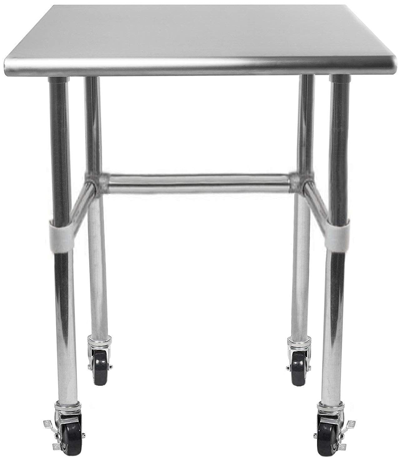 "14"" X 24"" Stainless Steel Work Table With Open Base & Casters - AmGoodSupply.com"