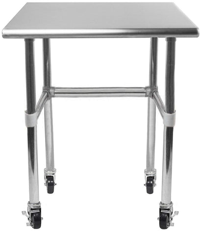 "30"" X 15"" Stainless Steel Work Table With Open Base & Casters"