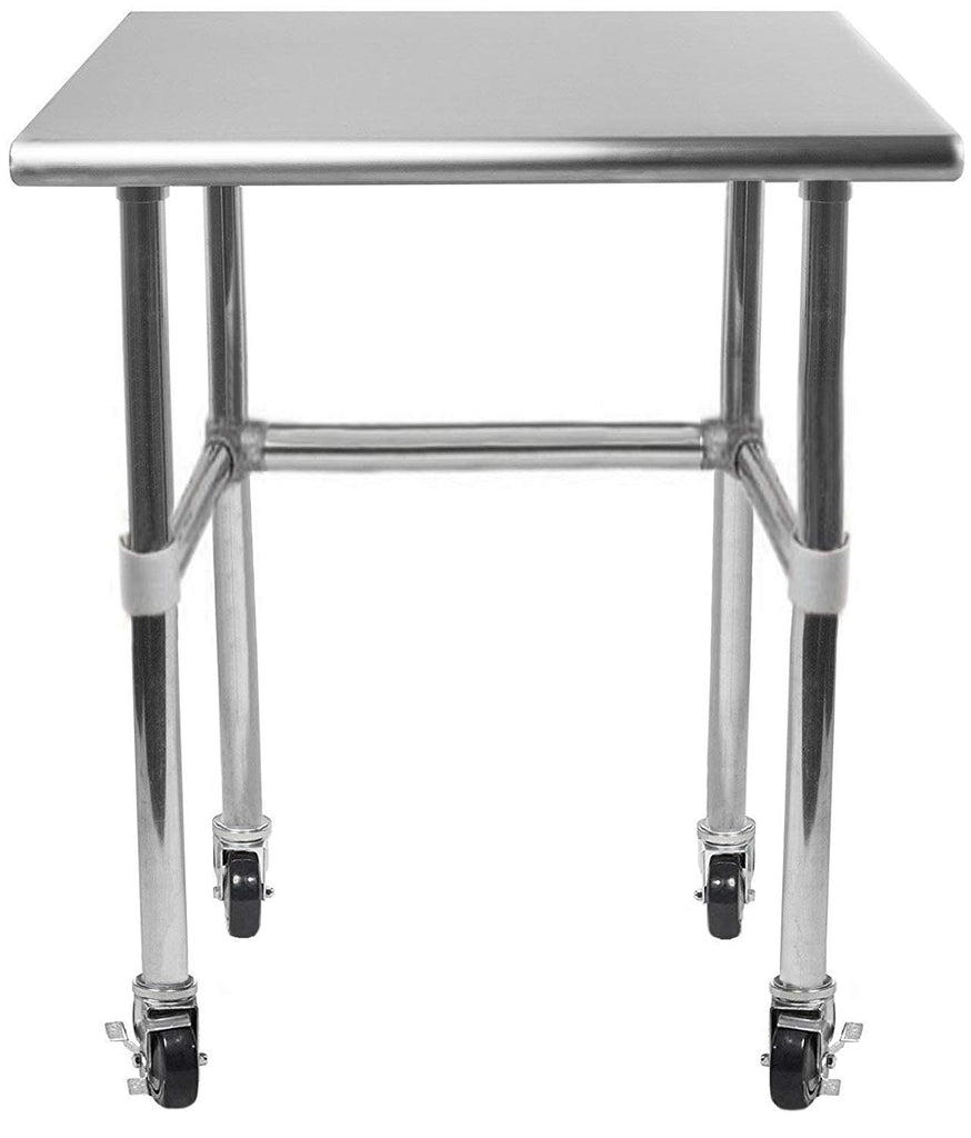 "30"" X 18"" Stainless Steel Work Table With Open Base & Casters - AmGoodSupply.com"