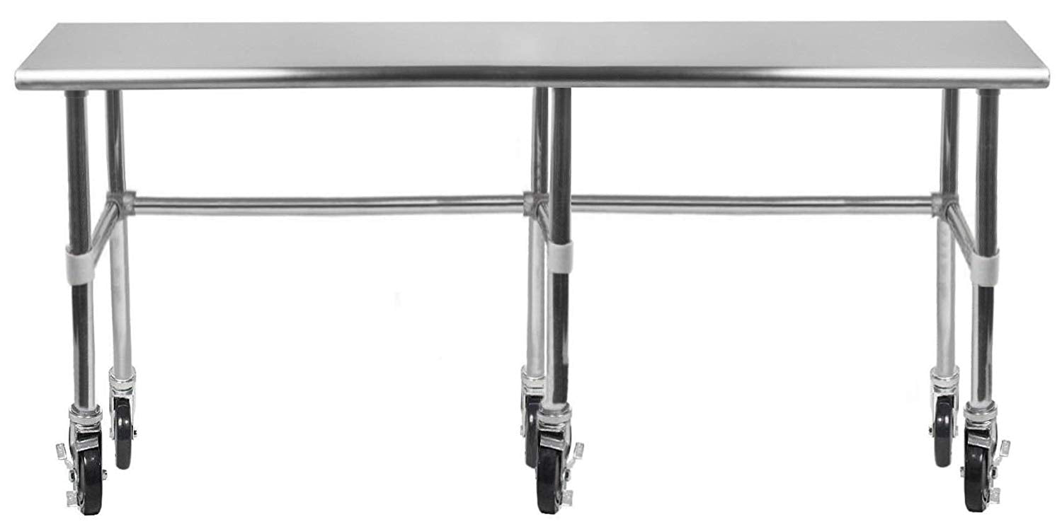 "14"" X 96"" Stainless Steel Work Table With Open Base & Casters - AmGoodSupply.com"