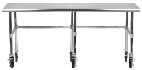 "30"" X 96"" Stainless Steel Work Table With Open Base & Casters"