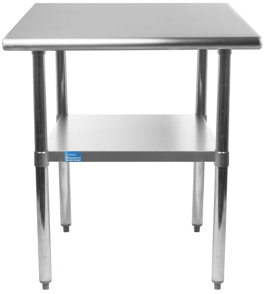 "24"" X 12"" Stainless Steel Work Table With Galvanized Undershelf - AmGoodSupply.com"