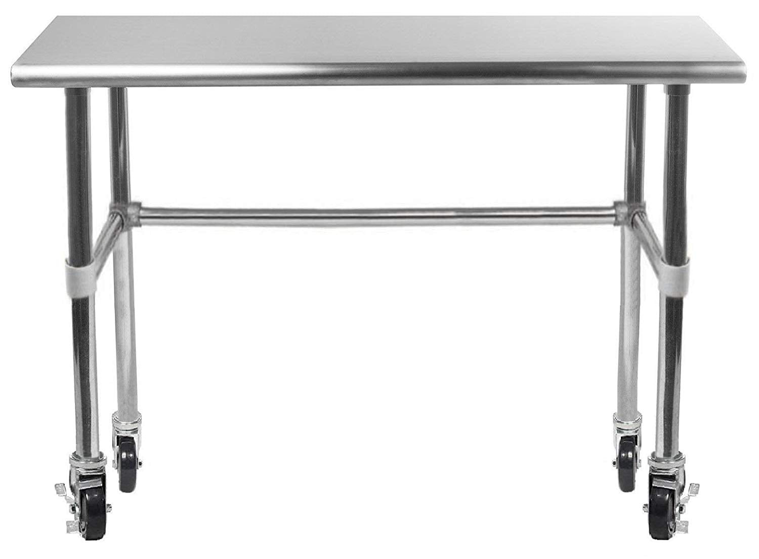 "14"" X 36"" Stainless Steel Work Table With Open Base & Casters - AmGoodSupply.com"