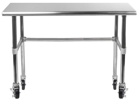 "18"" X 30"" Stainless Steel Work Table With Open Base & Casters - AmGoodSupply.com"