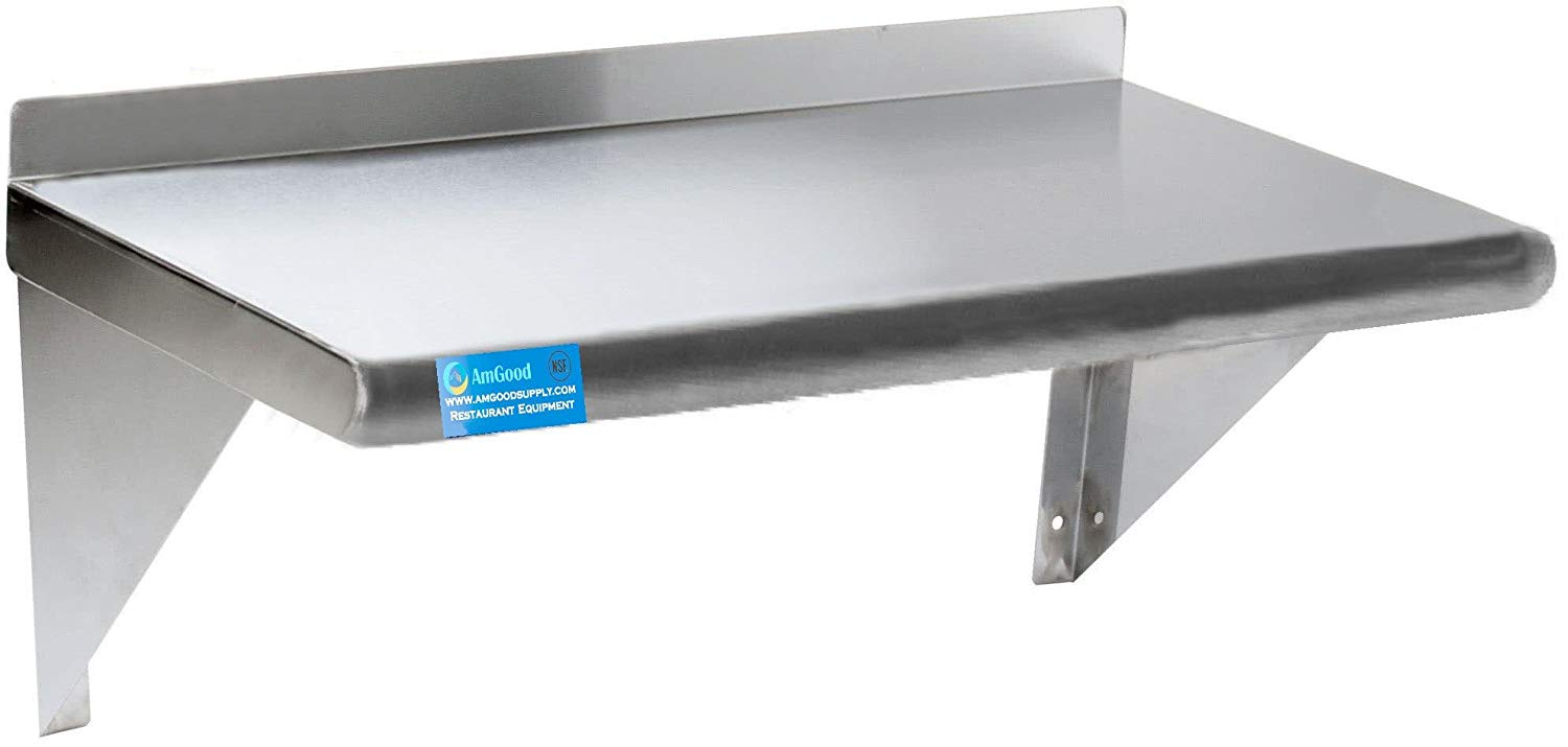 "12"" X 24"" Stainless Steel Wall Mount Shelf - AmGoodSupply.com"
