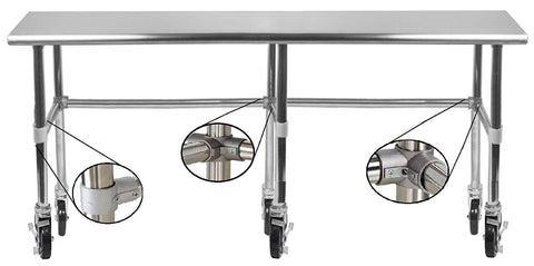 "30"" X 84"" Stainless Steel Work Table With Open Base & Casters - AmGoodSupply.com"