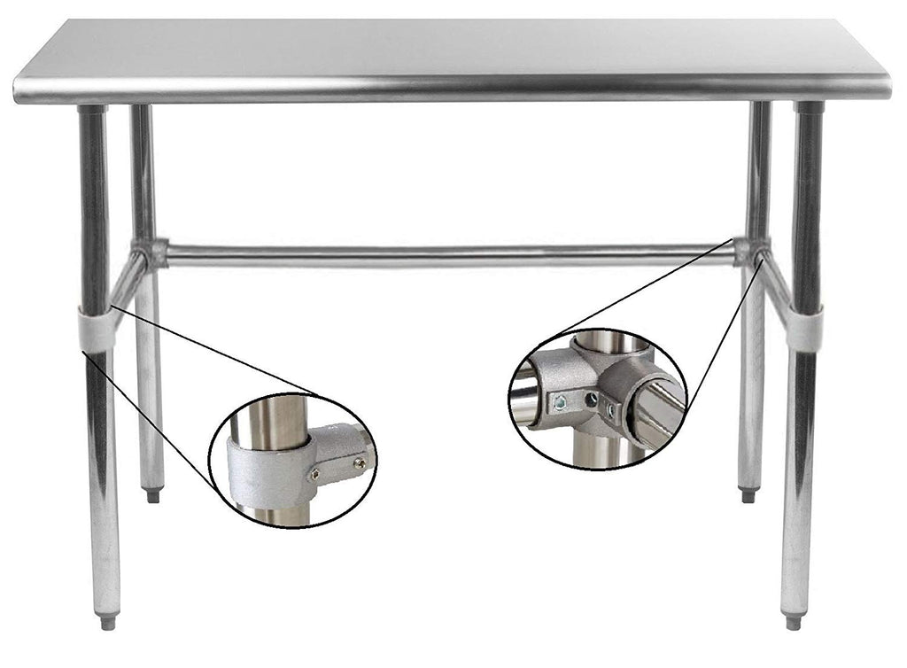 "18"" X 84"" Stainless Steel Work Table With Open Base - AmGoodSupply.com"