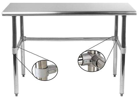 "30"" X 96"" Stainless Steel Work Table With Open Base - AmGoodSupply.com"