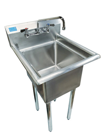 "22"" x 20"" Stainless Steel Mopsink with Faucet 10"" - AmGoodSupply.com"