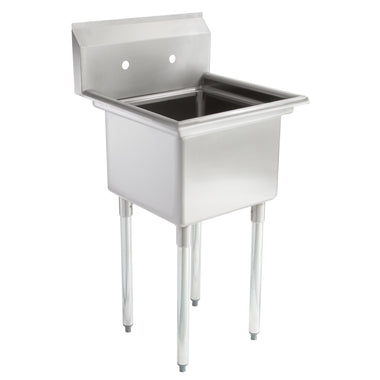 "22"" 16-Gauge Stainless Steel One Compartment Commercial Sink without Drainboard - 17"" x 17"" x 12"" Bowl - AmGoodSupply.com"