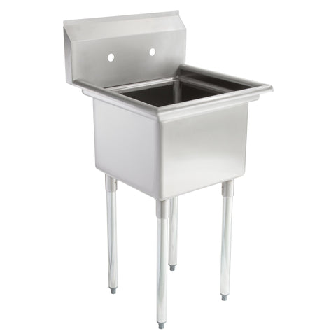 "22"" 16-Gauge Stainless Steel One Compartment Commercial Sink without Drainboard - 17"" x 17"" x 12"" Bowl"