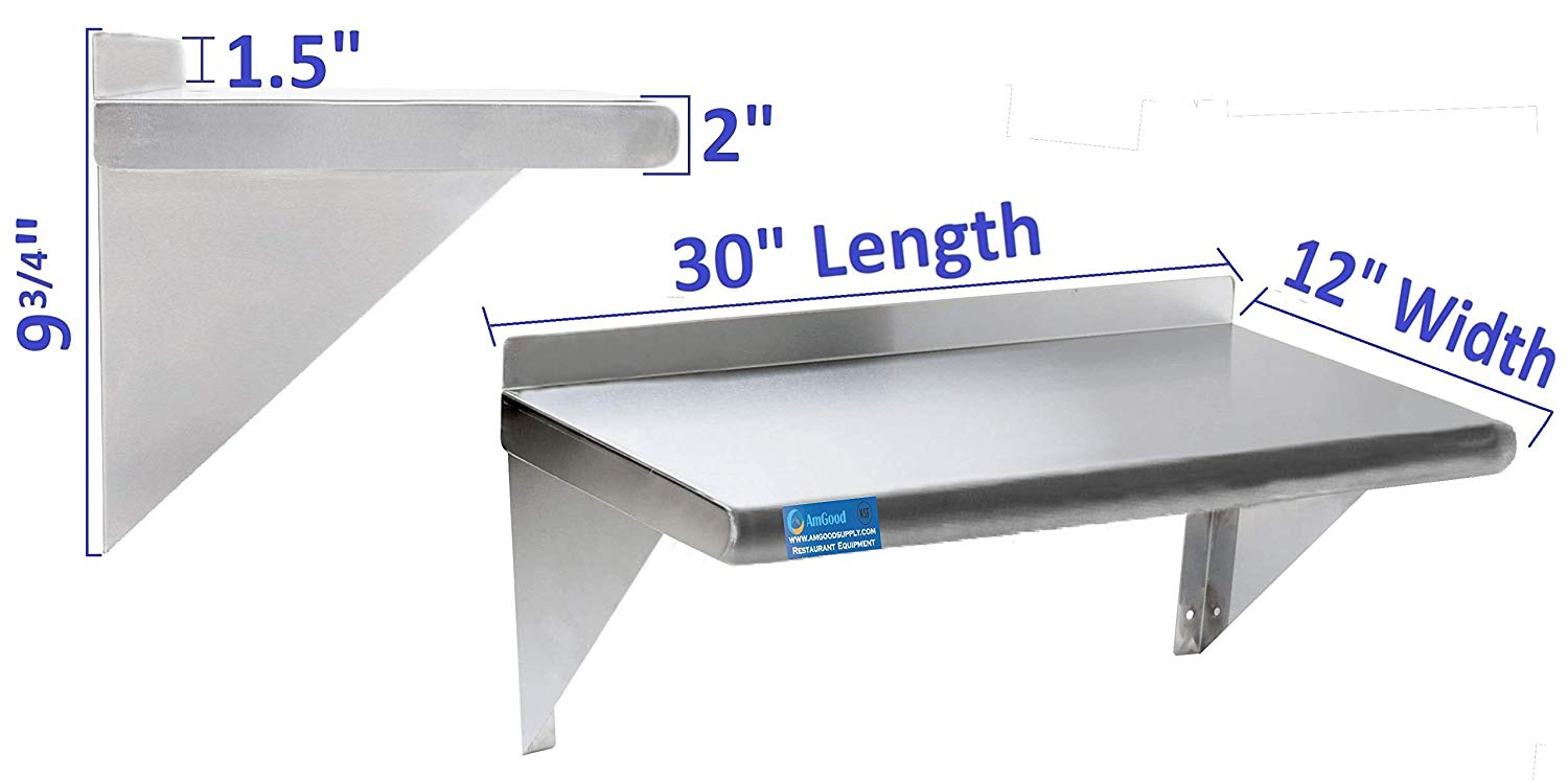 "12"" X 30"" Stainless Steel Wall Mount Shelf - AmGoodSupply.com"