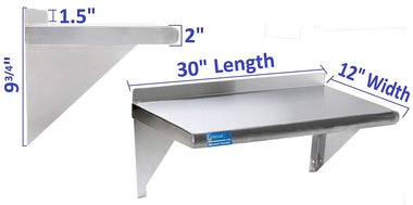 "12"" X 30"" Stainless Steel Wall Mount Shelf"