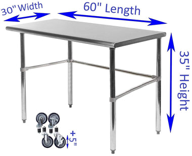 "30"" X 60"" Stainless Steel Work Table With Open Base & Casters - AmGoodSupply.com"
