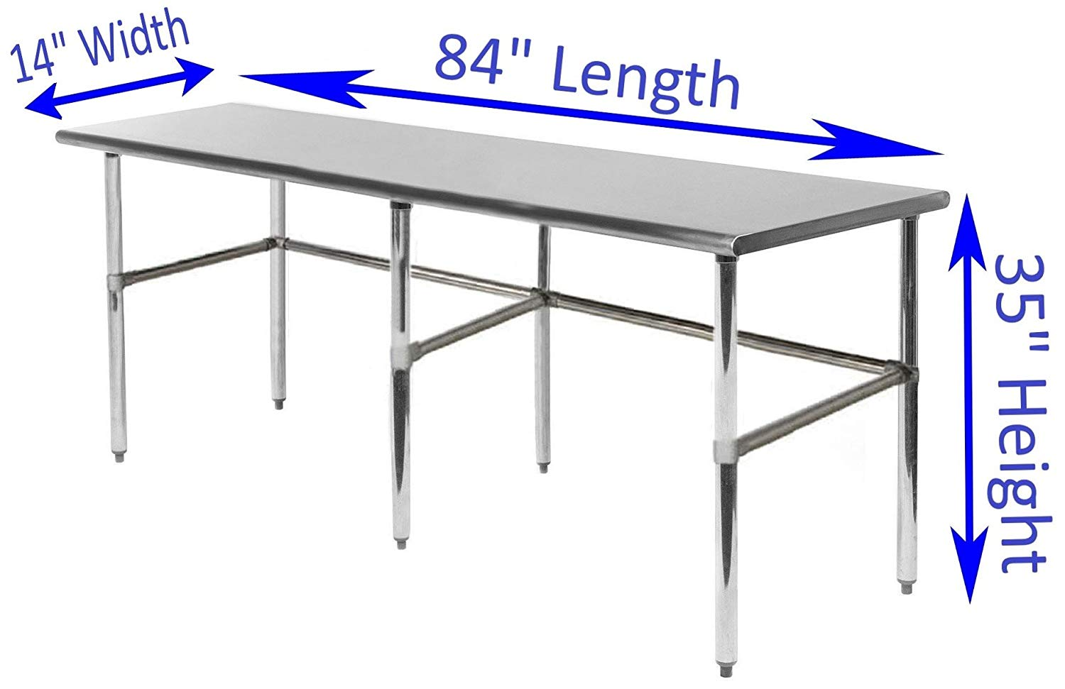 "14"" X 84"" Stainless Steel Work Table With Open Base - AmGoodSupply.com"