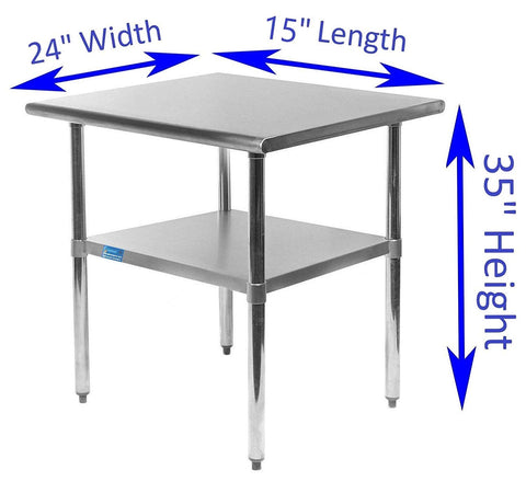"24"" X 15"" Stainless Steel Work Table With Galvanized Undershelf - AmGoodSupply.com"
