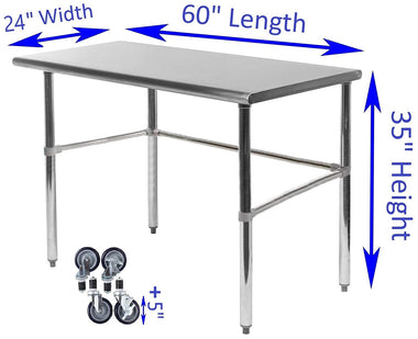 "24"" X 60"" Stainless Steel Work Table With Open Base & Casters"