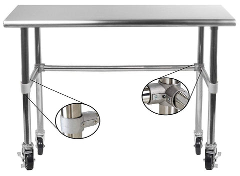 "18"" X 48"" Stainless Steel Work Table With Open Base & Casters - AmGoodSupply.com"