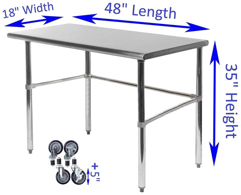 "18"" X 48"" Stainless Steel Work Table With Open Base & Casters"