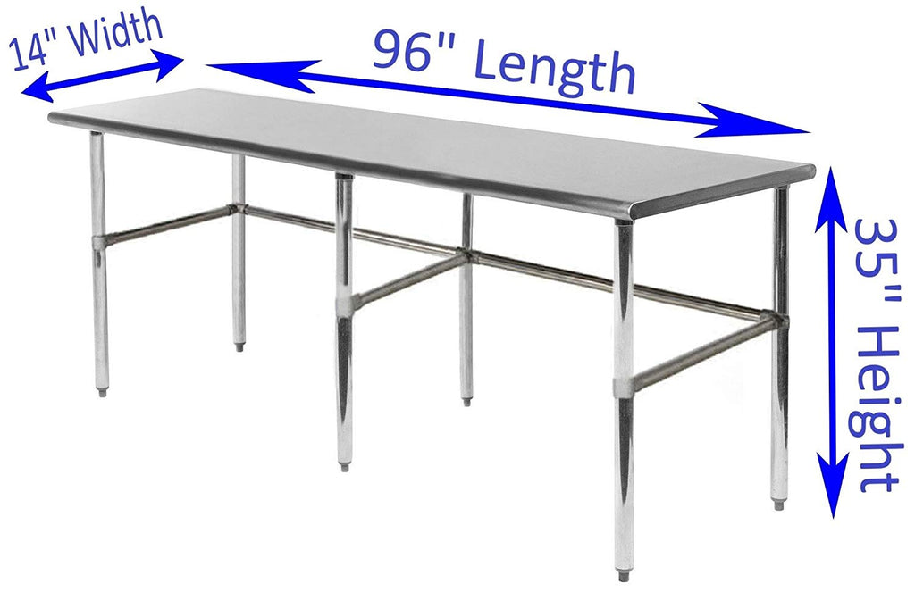 "14"" X 96"" Stainless Steel Work Table With Open Base"