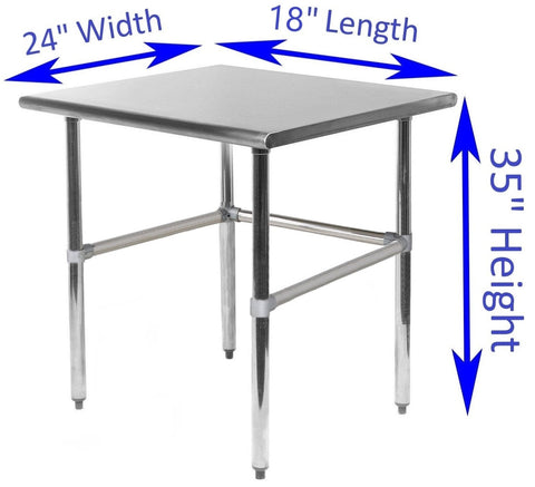 "24"" X 18"" Stainless Steel Work Table With Open Base - AmGoodSupply.com"