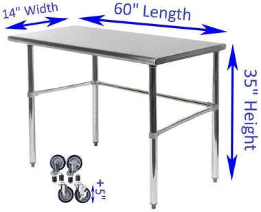 "14"" X 60"" Stainless Steel Work Table With Open Base & Casters"