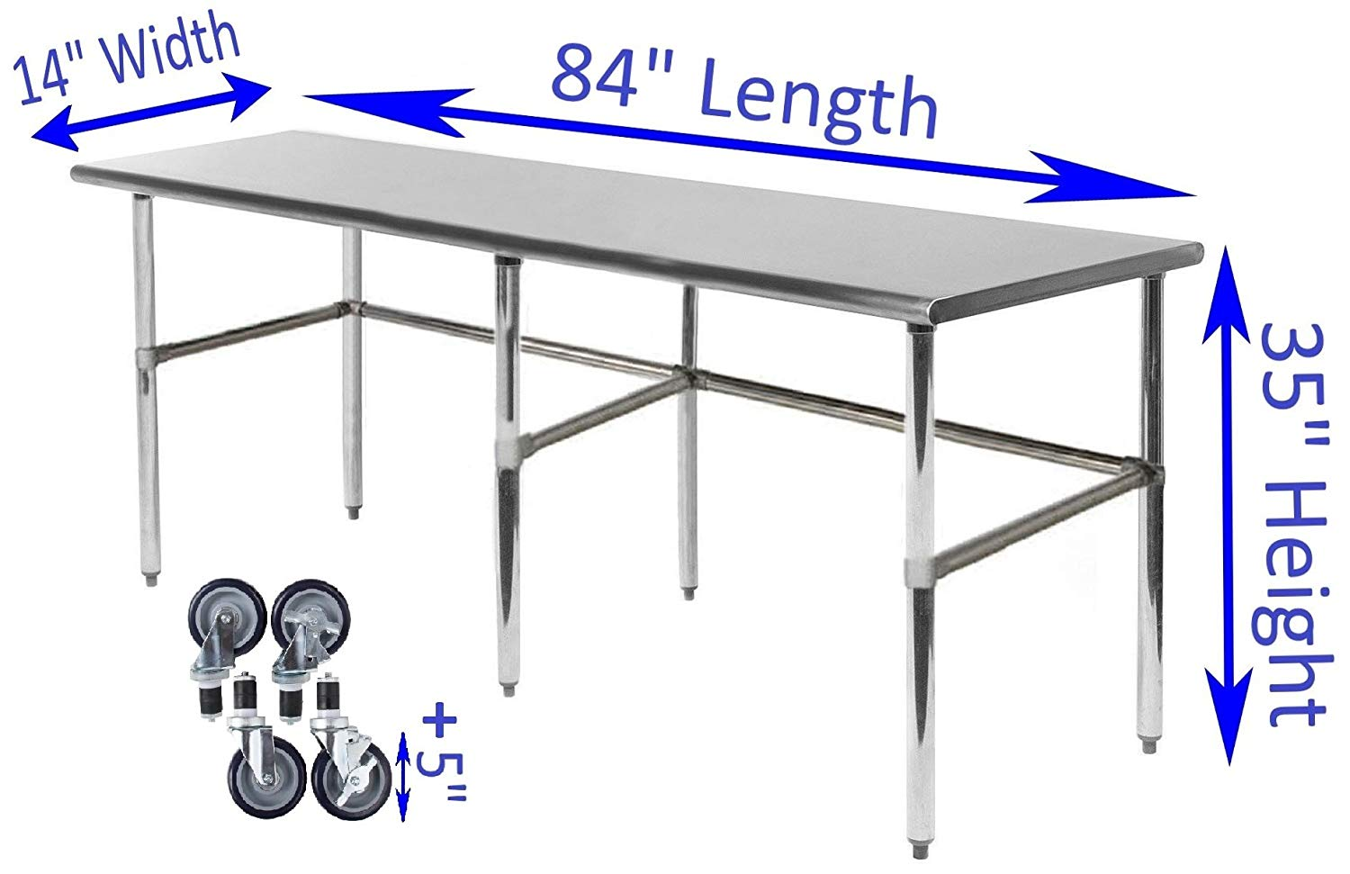 "14"" X 84"" Stainless Steel Work Table With Open Base & Casters - AmGoodSupply.com"