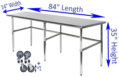 "14"" X 84"" Stainless Steel Work Table With Open Base & Casters"