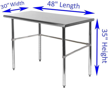 "30"" X 48"" Stainless Steel Work Table With Open Base - AmGoodSupply.com"