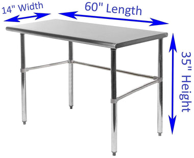 "14"" X 60"" Stainless Steel Work Table With Open Base - AmGoodSupply.com"