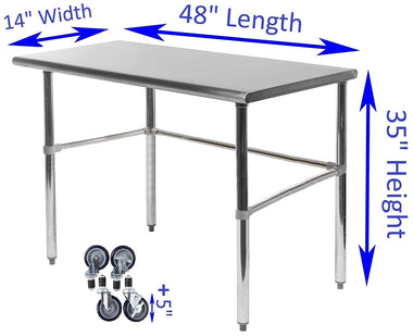 "14"" X 48"" Stainless Steel Work Table With Open Base & Casters"