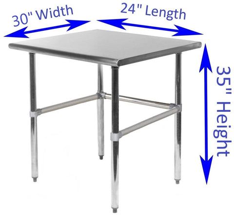 "30"" X 24"" Stainless Steel Work Table With Open Base - AmGoodSupply.com"