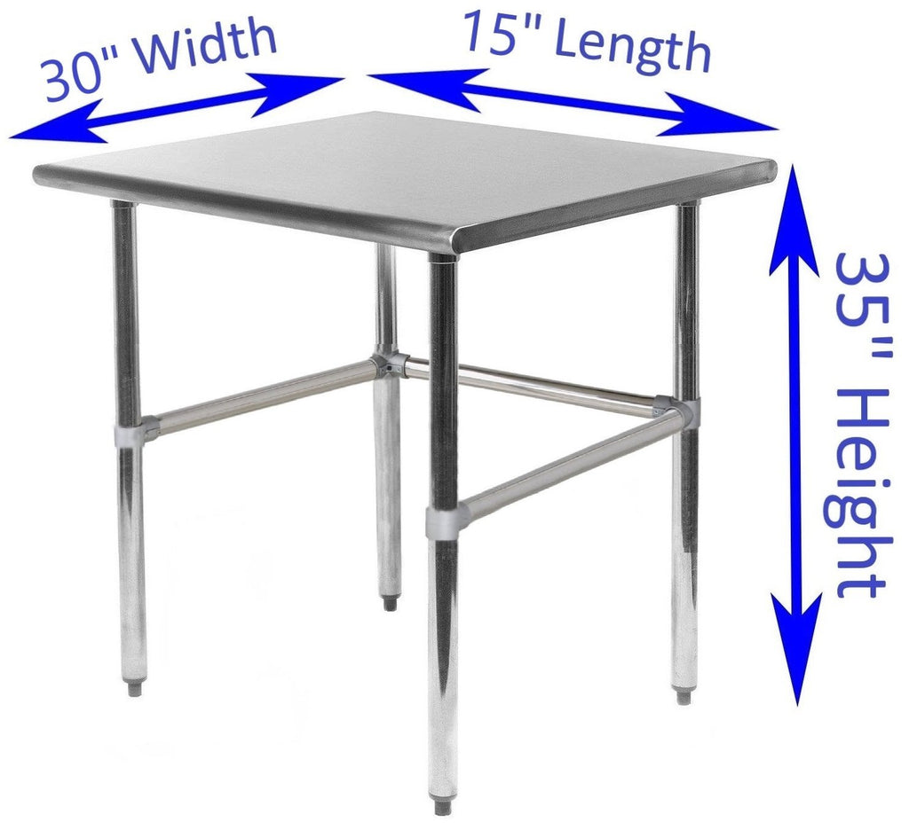 "30"" X 15"" Stainless Steel Work Table With Open Base"