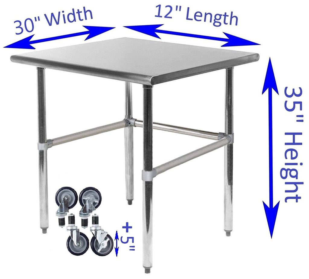 "30"" X 12"" Stainless Steel Work Table With Open Base & Casters"