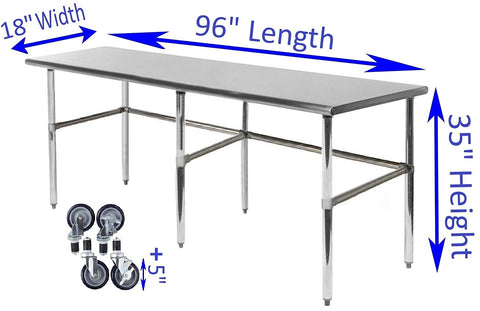 "18"" X 96"" Stainless Steel Work Table With Open Base & Casters - AmGoodSupply.com"