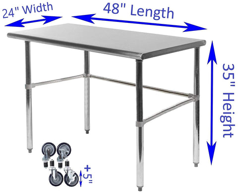 "24"" X 48"" Stainless Steel Work Table With Open Base & Casters - AmGoodSupply.com"