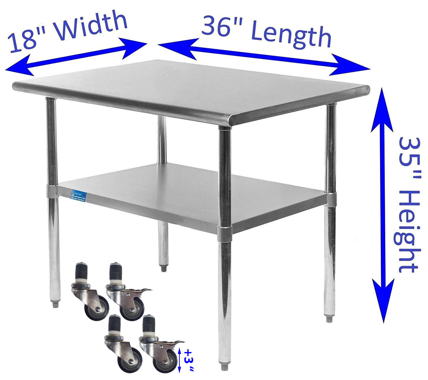 "18"" X 36"" Stainless Steel Work Table With Galvanized Undershelf & Casters - AmGoodSupply.com"
