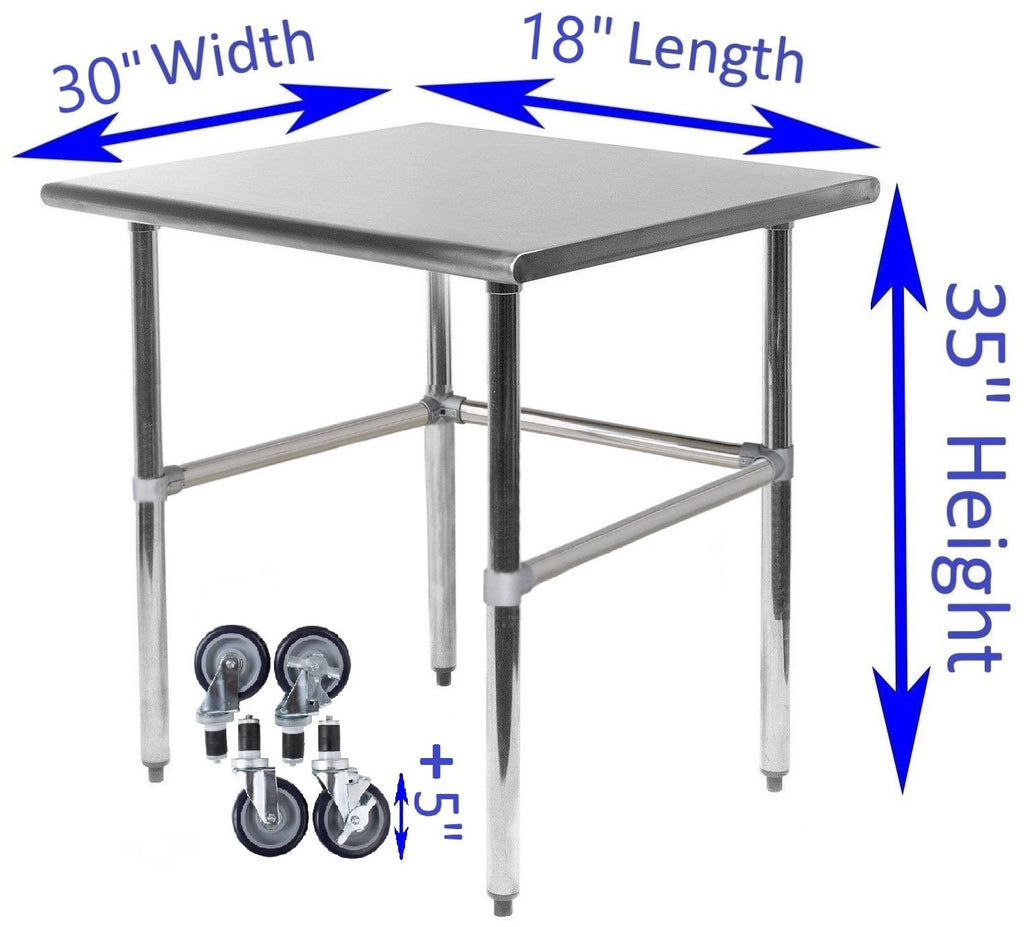 "30"" X 18"" Stainless Steel Work Table With Open Base & Casters"
